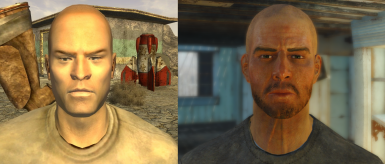 I took the liberty of adding a bit of facial hair to Boone, to stray away from that egg-look from New Vegas. Looks like more of a convincing hardened sniper now. He is also wearing an NCR beret in the next image which comes from a mod.