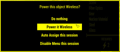 Menu showed when a object that can be Wireless powered is placed.