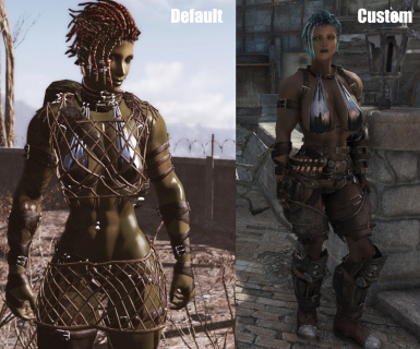 Skadi's default look vs my custom mesh