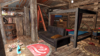 Blake and Connie's master bedroom is simple but comfortable. The only luxury they afforded is a barrel fireplace to keep Blake's bones a little drier. The last two winters his back started hurting the colder it got.