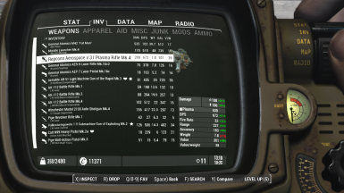 Pipboy tabs (WEAPONS, APPAREL,...) are fixed and always visible