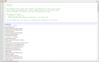 Edit and create your own tag sets via ini file in your favorite text editor