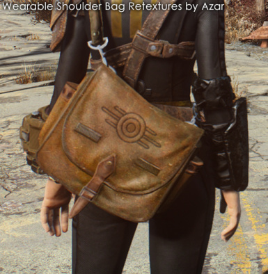 Wearable Shoulder Bag Retextures By Azar Brown Leather With Vault Tec Logo