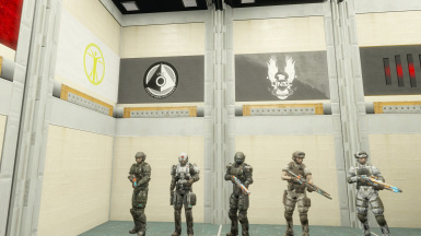 UNSC Marine Corps BDU outfits with UNSC and ONI flags.