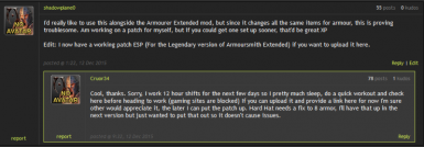 Compatability Patch - Armoursmith Extended - Cruor34's Armour Rebalance - Legendary Modification