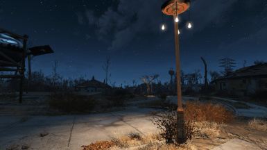 Streetlights at night with only one large pylon needed