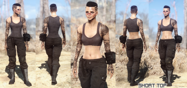 Sleeveless outfit normal and short top
