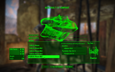 Ballistic Weave Tuned Down At Fallout 4 Nexus Mods And Community It's not possible to add ballistic weave onto the vault suits until after you unlock the ability in the relative quest(s). ballistic weave tuned down at fallout 4