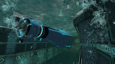 Scrault the Cyclops parked in the moonpool in the Alien Gun building