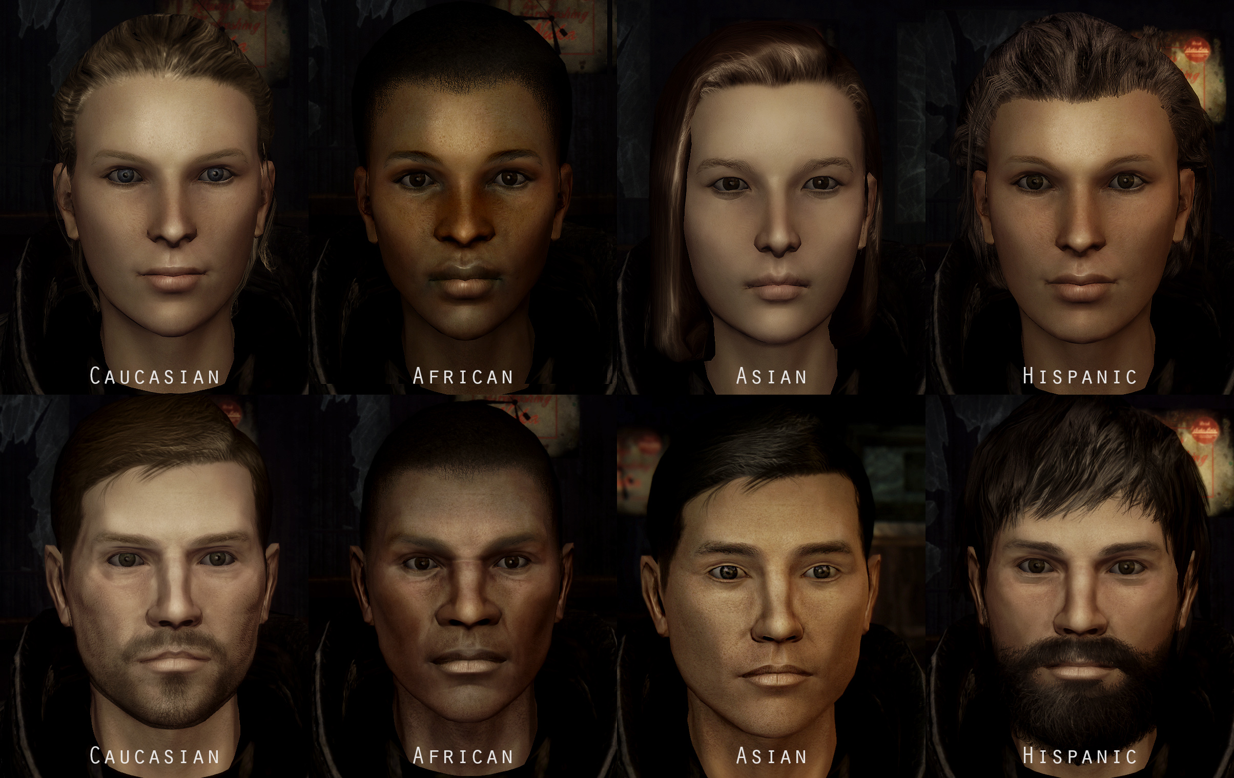 Fallout Character Overhaul - Races at Fallout3 Nexus