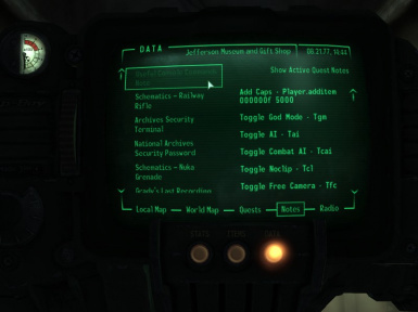 Useful Console Commands Note FO3