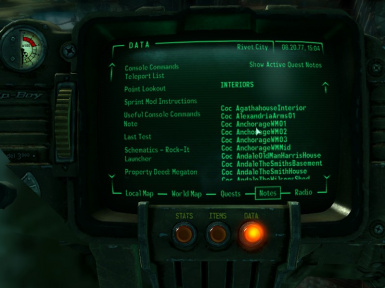 Console Command Teleport Codes List FO3