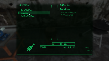 Fallout Food Recipe Menu Compatibility