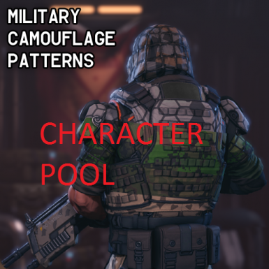 Military Camoflague Patterns multinational Character pool with immersive Science Fiction characters