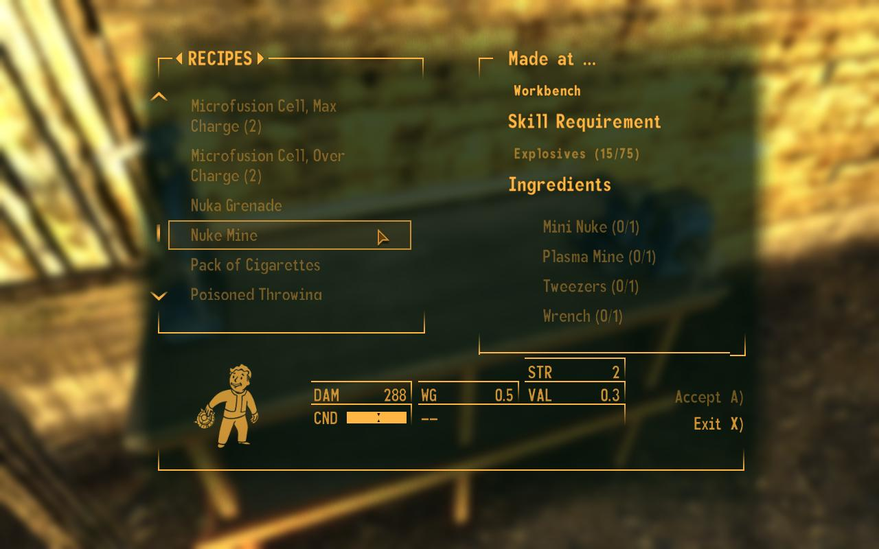 Fallout New Vegas Crafting Recipes