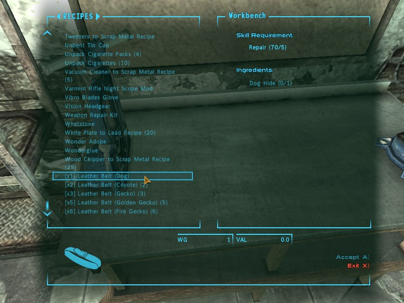 leather belt recipes at fallout new vegas mods and community