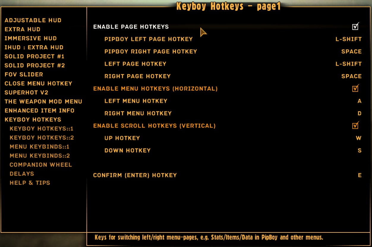 KeyBoy - UI Hotkeys Manager (M for Map) at Fallout New Vegas - mods