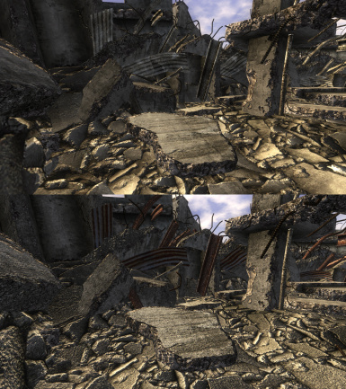 Rubble Piles Before and After