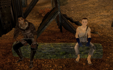 npcs sitting on tree bench