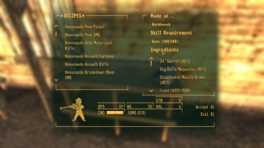 Weapon creation recipes at Fallout New Vegas - mods and