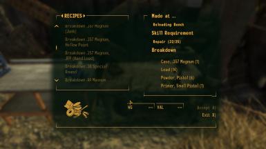 Break down more Ammo types ALL DLCs at Fallout New Vegas - mods and