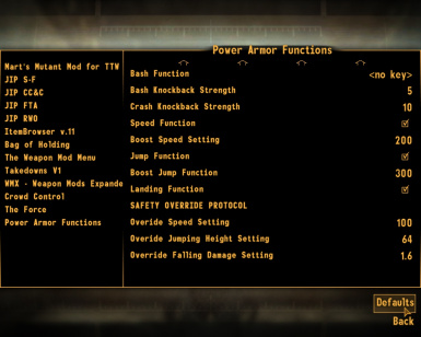 Power Armor Functions