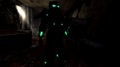 Scorched power armor with glow