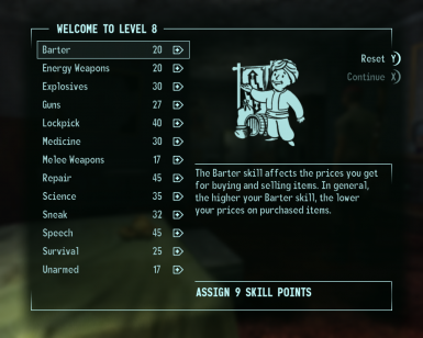 Level 8 - First level up screen, 50% skill points.