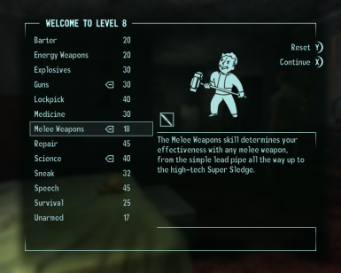 Level 8 - First skill points applied.
