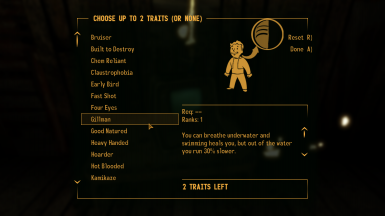 TTW Traits and Perks