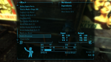 The recipe for the RobCo Brainsaw, requires the Mad Scientist perk