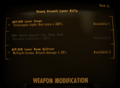 Heavy Laser Rifle mod menu