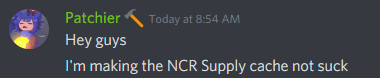 Standardized NCR Supply Caches