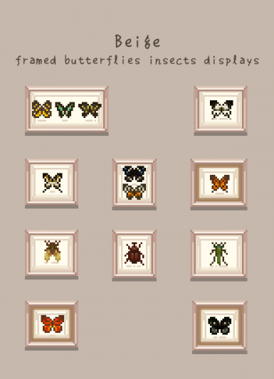 beige framed butterflies insect display