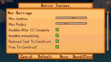Generic Mod Config Menu options (available in Better Junimos 2 Beta)