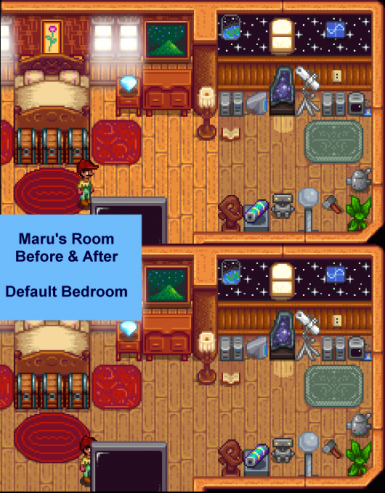 Maru's Room (Before and After) with Default Floor in Bedroom.