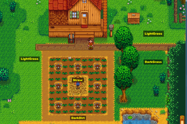 Spring screenshot showing LightGrass, DarkGrass, and DarkDirt paths on the Forest Farm