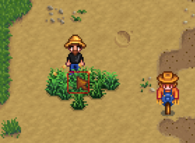 One days Growth with the default config. (Single Grass Starter)