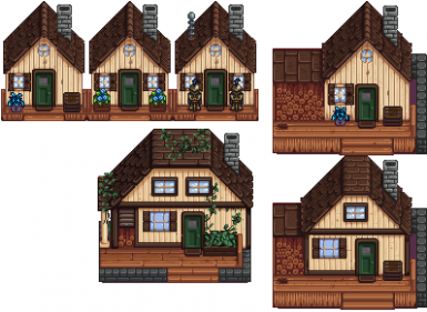 Vanilla House Recolor and Plank Cabin (Green Brown) at