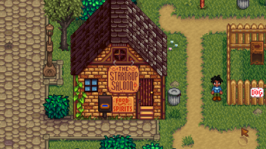 Wood sign in default location with Eemie's map recolor and Dark Wood Craftables