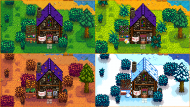 Fancy house in each season with various mice minding the store