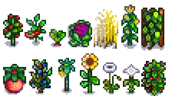 Comparison between recolored (left) and base game (right) crops