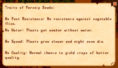 Example of a crop with no traits