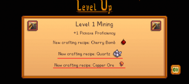 After reaching Mining Level 1
