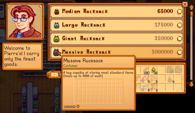 New in version 1.2.0 - Rucksacks can store almost any stackable item, rather than being restricted to a pre-defined list of items.