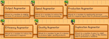 6 different augmentor items, that each have a different effect when attached to a machine