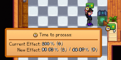 Hover over a machine with an augmentor selected on your toolbar to see what effect will be applied if you attach it. In this example, attaching 1 speed augmentor to the crystalarium makes it produce 4.5% faster. Attaching all 9 would make it 33% faster