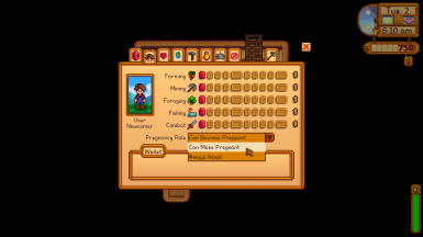 The farmer's pregnancy role can be changed from the Skills tab of the pause menu.