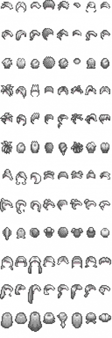 The hairstyles included in the pack- there are actually twice this many, 2 brightnesses of each.