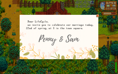 Penny and Sam wedding invitation